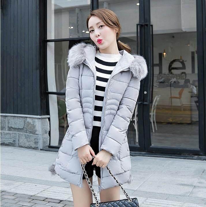 Pakaian Katun Bulu Angsa Jaket Padded Wanita Gaya Korea Lebih Tebal