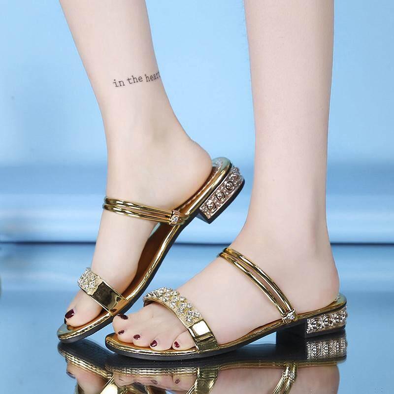 Satu Sepatu dua Hak Tebal Sandal summer sandal wanita modis Gaya Korea Hak Rendah batu kristal