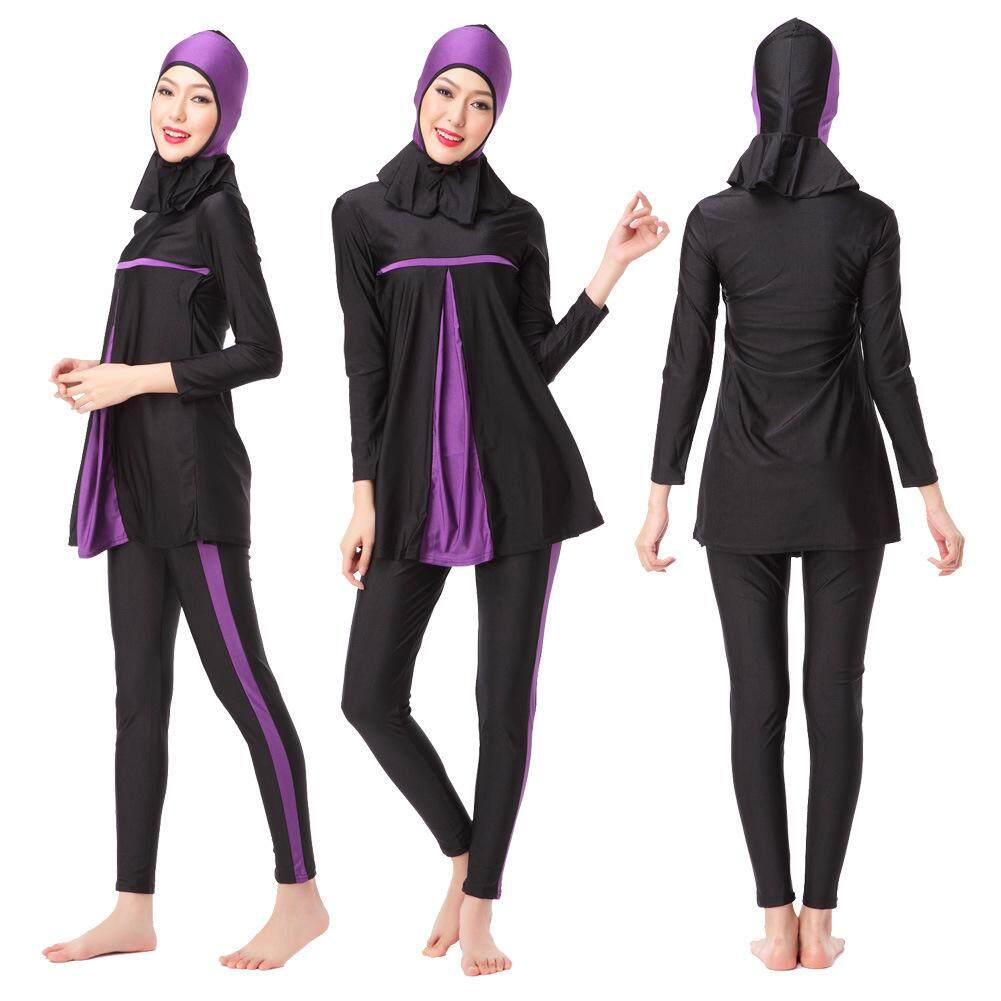 Produk Baru Muslim Wanita Tradisional Pakaian Renang Mode Jilbab Baju Renang Baju Renang Cakupan Penuh Baju Renang Konservatif Muslim Pakaian Pantai Renang Suit Pakaian Renang Muslim-Intl Fanyi Toko