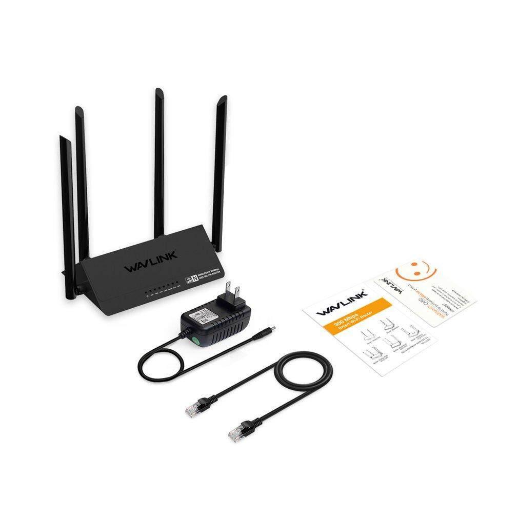 Lalove Wavlink Wn521r2p 300 Mbps Router ไร้สาย 4x5dbi สมาร์ทอินเตอร์เน็ตไร้สายภายนอก 4 เสาอากาศแอปอินเตอร์เน็ตไร้สายขยายสีดำ Us.