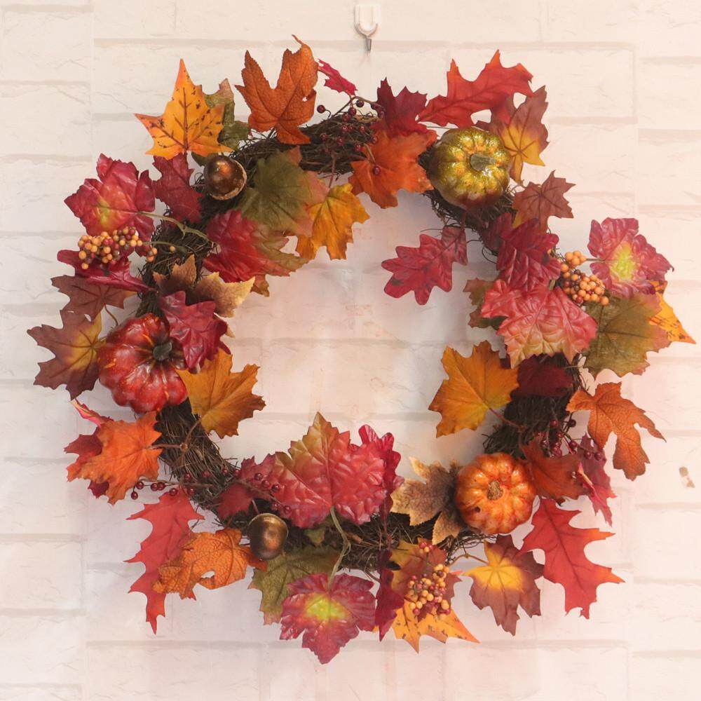 free shipping 45cm Wine Red Maple Leaf  Pumpkin Fall Door Wreath Door Wall Ornament Christma