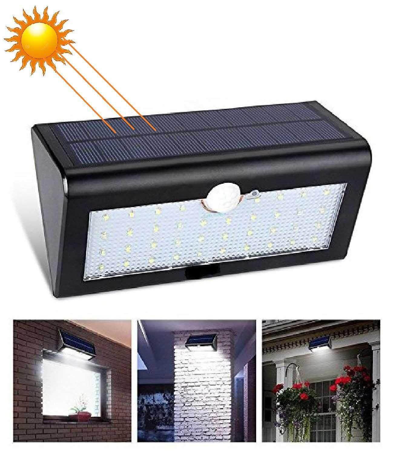Bkk Lighting ไฟติดผนังโซล่าเซลล์พลังงานแสงอาทิตย์ 30 Led 1 ชิ้น Solar Powered Motion Sensor Wall Light 3 Mode .