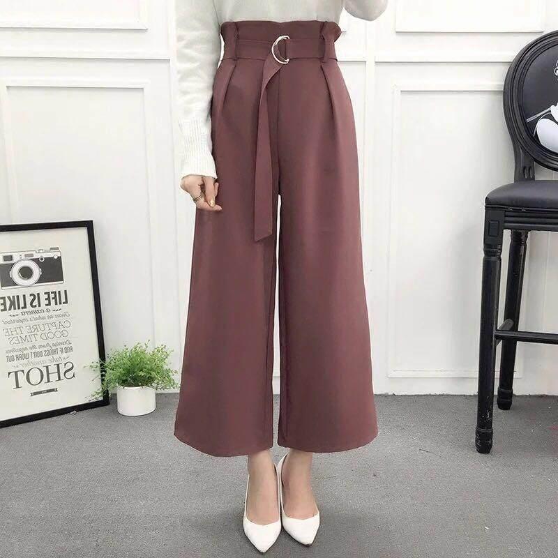 เสื้อผ้าแฟชั่น กางเกงเกาหลีฤดูใบไม้ผลิใหม่ของผู้หญิง (freesize) ยเข็มขัด สีเทา ริ้ว หายใจได้ดีข้อเสนอสุดพิเศษ.