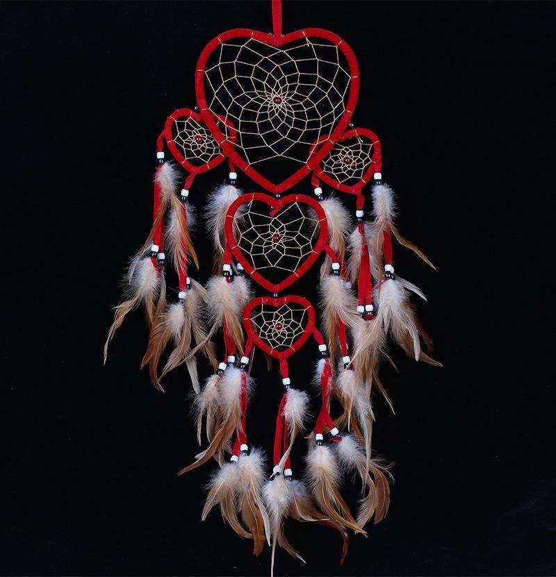 5 Rings Beautiful Dream Catcher Dreamcatcher Heart Shape Feathers for Home Wall Decorations Car Pendant -