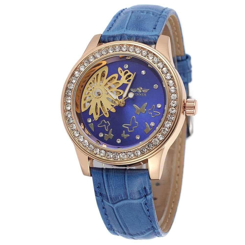 WINNER 424 Top Brand Luxury Women Mechanical Watch Leather Strap Butterfly Flower Crystal Diamond Iced Out Elegant Ladies Wristwatch Malaysia