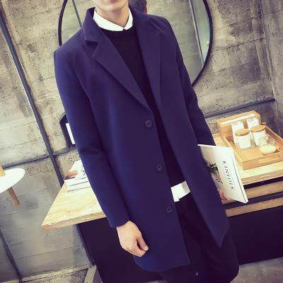 Trench Coat man Mid-length Korean Style Slim Fit Woolen Jacket Youth Trend  2019 New e8a5c09d7