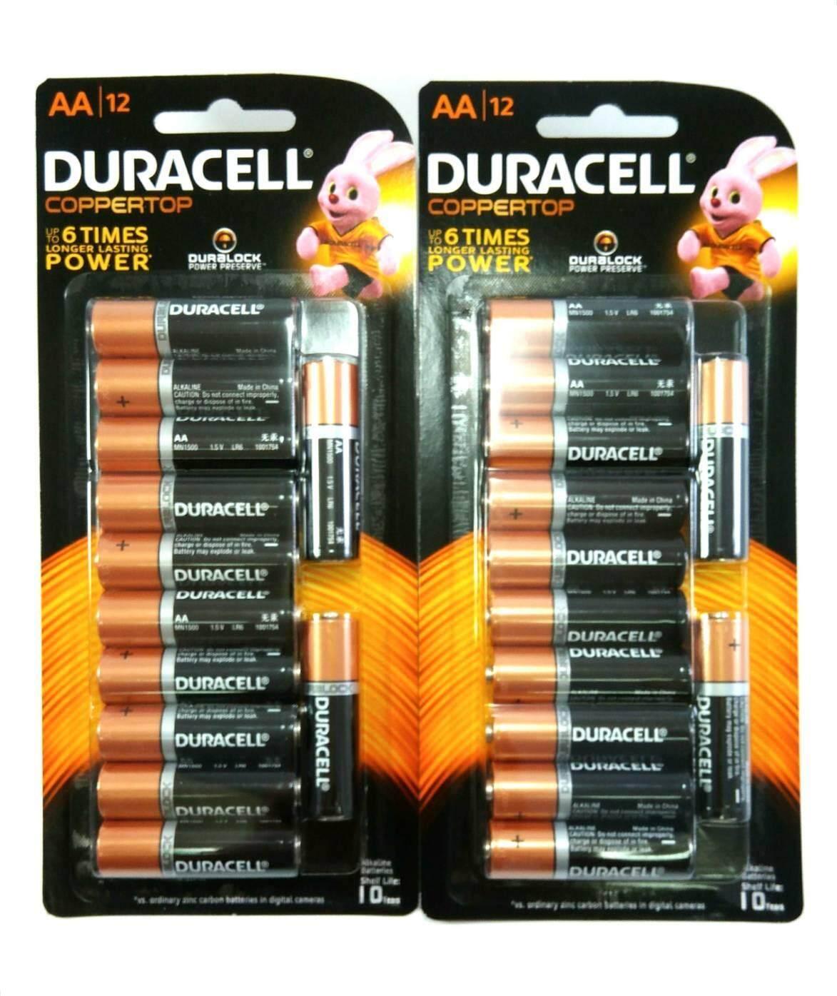 ถ่าน Duracell อัลคาไลน์ Aa-แพ็ค12ก้อน (จำนวน 2 แพ็ค) 24ก้อน.