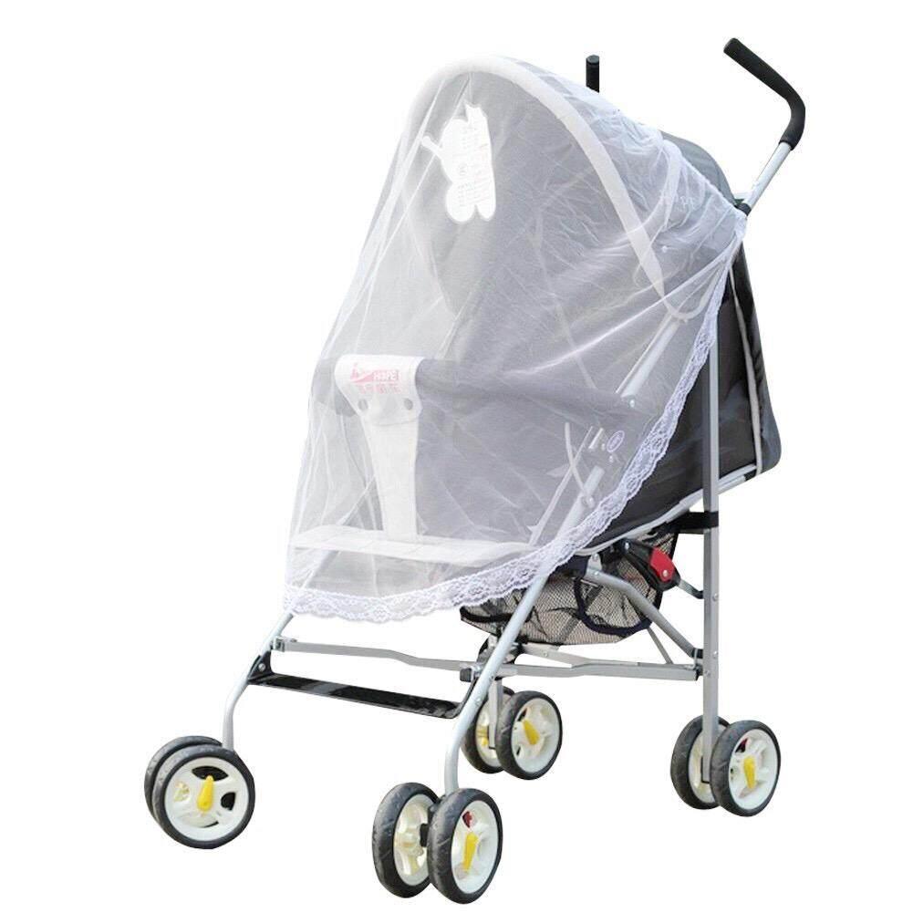 มุ้งคลุมรถเข็นเด็ก มุ้งตาข่ายกันยุงกันแมลง มุ้งกันยุง ใช้กับ รถเข็นเด็กทุกรุ่น รุ่นชายระบายลูกไม้ (สีขาว)