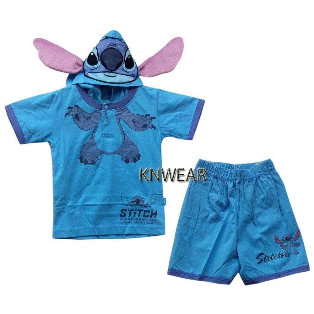 Disney Stitch เสื้อผ้าเด็ก ชุดสติทช์ผ้าคอตต้อนมีฮู้ด มีหูและใบหน้าสติทช์บนฮู้ด (สีฟ้า) -  A1720 - Dls130-03.