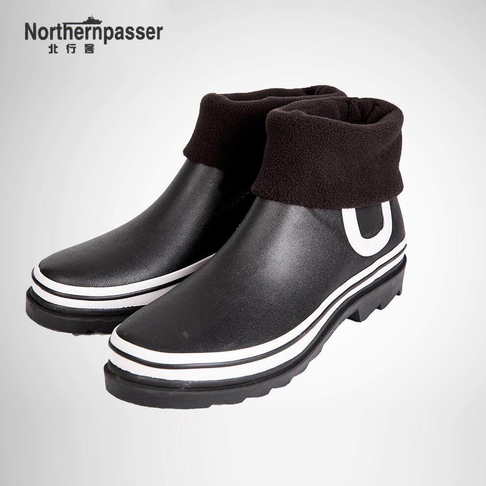 Ke Utara Mati Musim Gugur atau Dingin Pendek Sepatu Bot Hujan (Model Pria + Hitam Sepatu Bot Hujan + kaos Kaki)