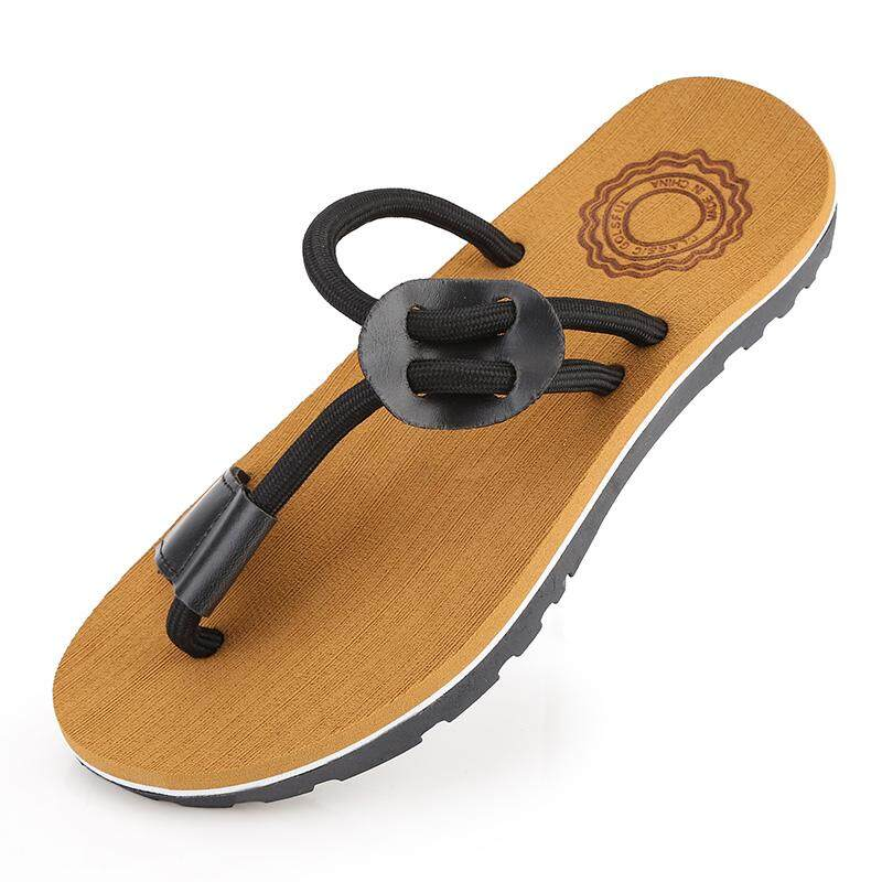 Kailijie Sandal Bakiak Sandal Pria Modis Datar Lipat Flop Pantai Sandal Sepatu-Internasional