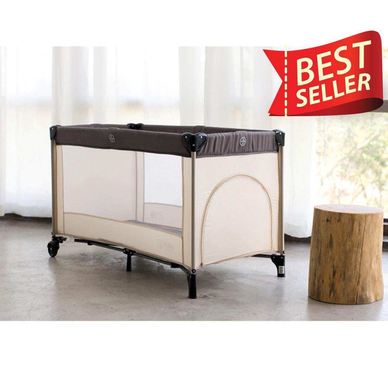 Hot Item Baby Bed ที่นอนเด็กแบบพับได้ 0-5 ขวบ 125x65x76(cm)(สีครีม).