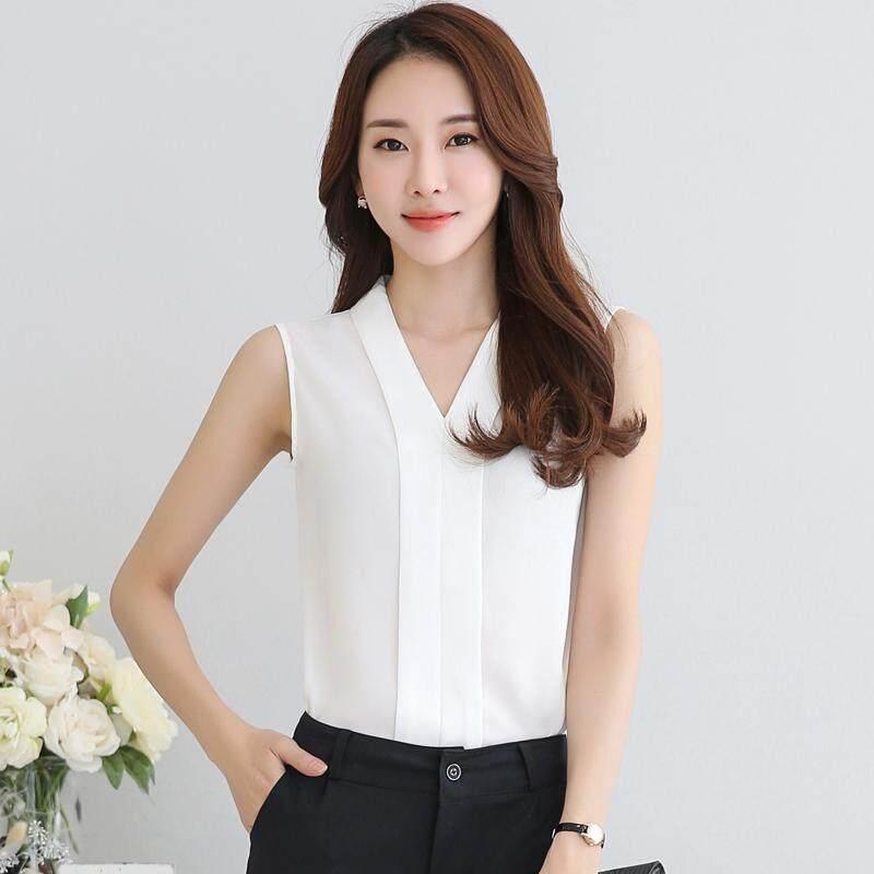 Menggantung-Qiao Panas Gaya Korea Jual Baju Wanita Atasan Bergaris Leher V Baju Putih.