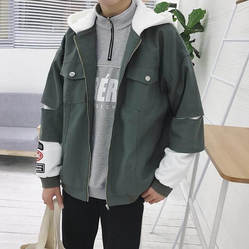 @ Bào Tử Tháng Sáu Mùa Thu Áo Khoác Nam Phiên Bản Hàn Quốc Phối Màu Liền Mũ Áo Hip Hop Nam Tính Dễ Phối Thịnh Hành Áo Jacket Nam Thanh Niên
