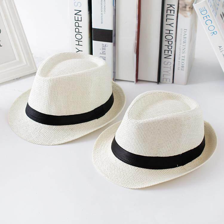 หมวกฤดูร้อนสบายๆหมวกแจ๊สเด็กชายและเด็กหญิงที่ร่ม (รุ่นผู้ใหญ่ 54-58 ซม. + สีทึบหมวกแจ๊สสีดำ).