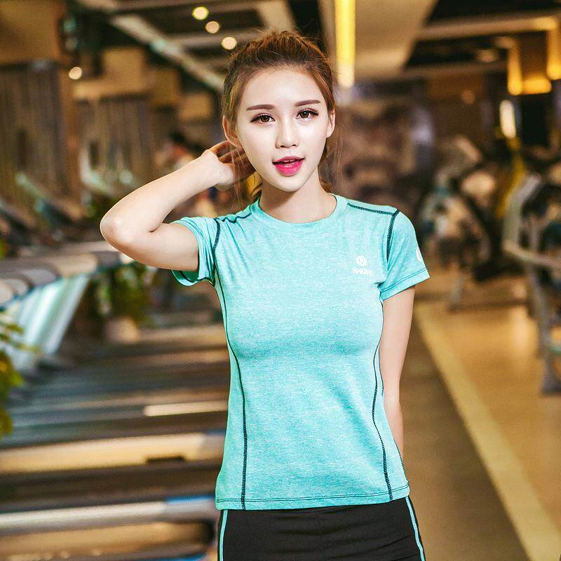 Yoga T-shirt Spring Gym Slimming Running Workout Clothes Quick Drying Clothes Elasticity Loose Short