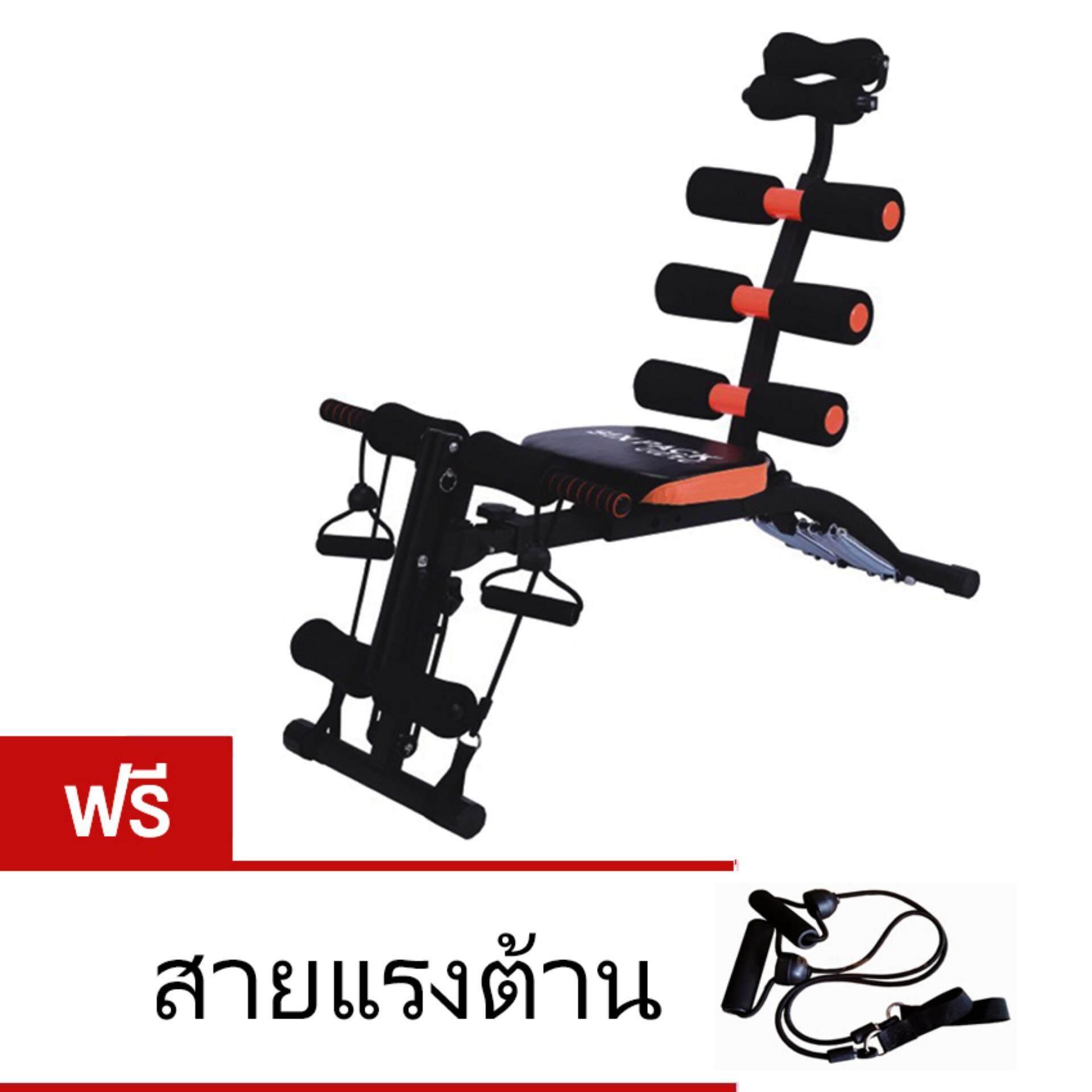 Six Pack Care เครื่องบริหารหน้าท้อง เครื่องซิทอัพ เก้าอี้ซิทอัพ สปริง 6 เส้น Sit Up Bench สีดำ สีส้ม เป็นต้นฉบับ