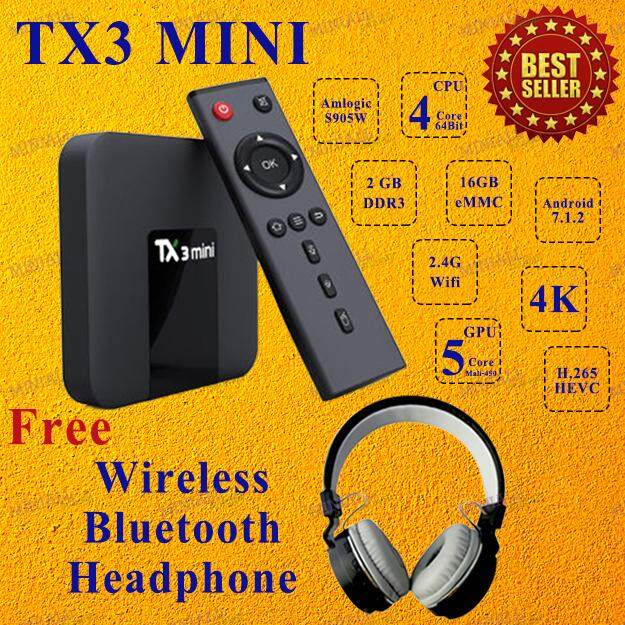 ทำบัตรเครดิตออนไลน์  ลำพูน TX3 Mini Android Smart TV Box Ram 2GB ROM 16GB S905W Quad Core Android 7.1 + Bluetooth Headphone ( Black )