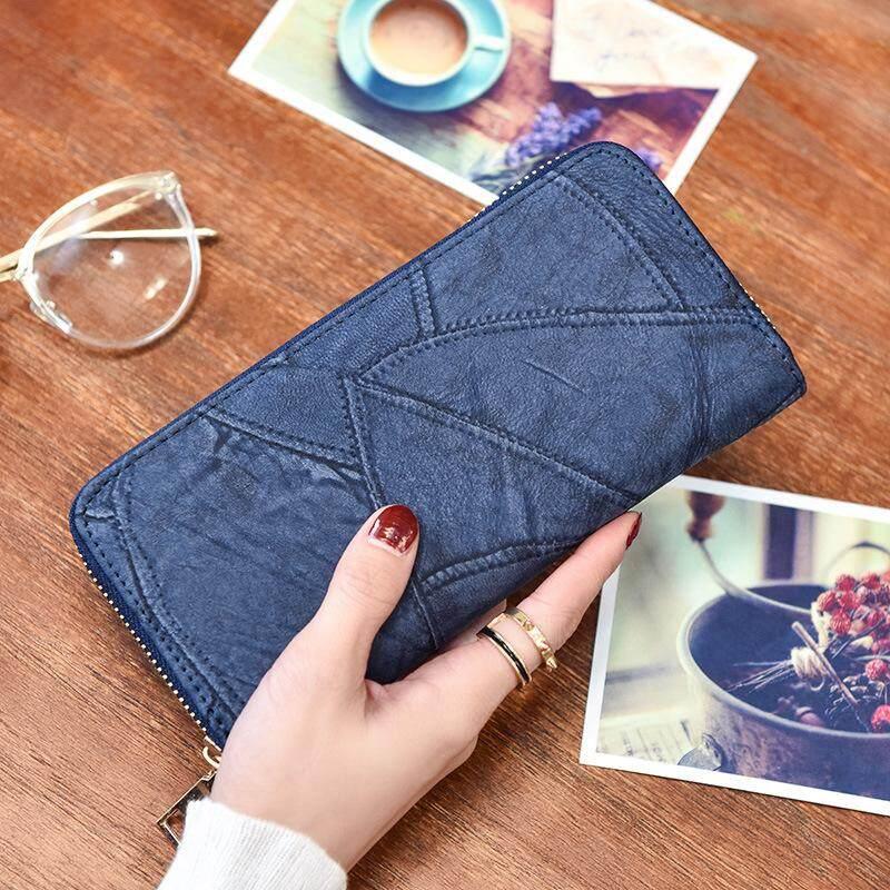 Wallet female 2017 new matte stitching clutch Korean fashion zipper purse handbag simple leather clip