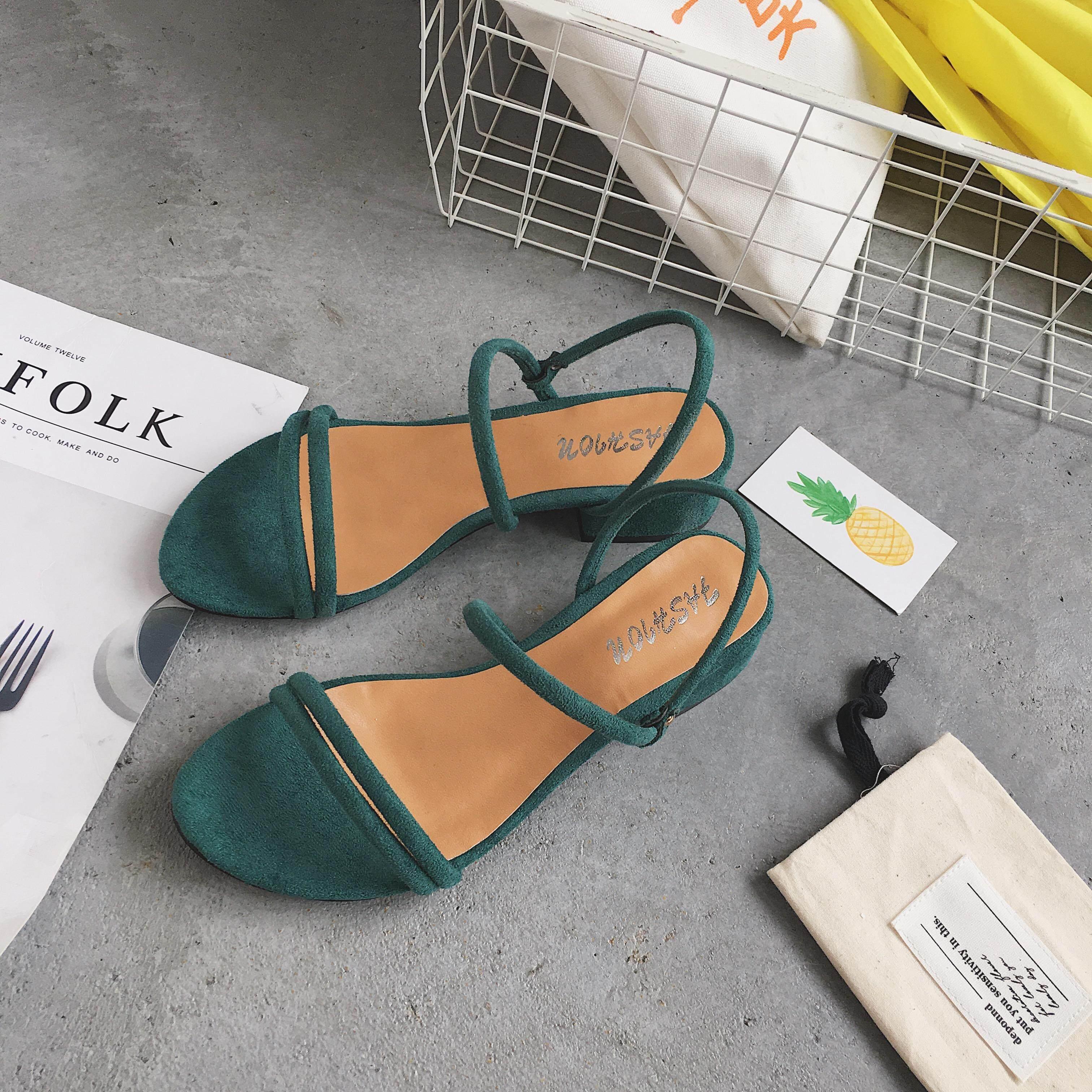 2d5850bed9f82 2018 New Style Semi-high Heeled A-line Sandals women Summer Korean Style  Versatile