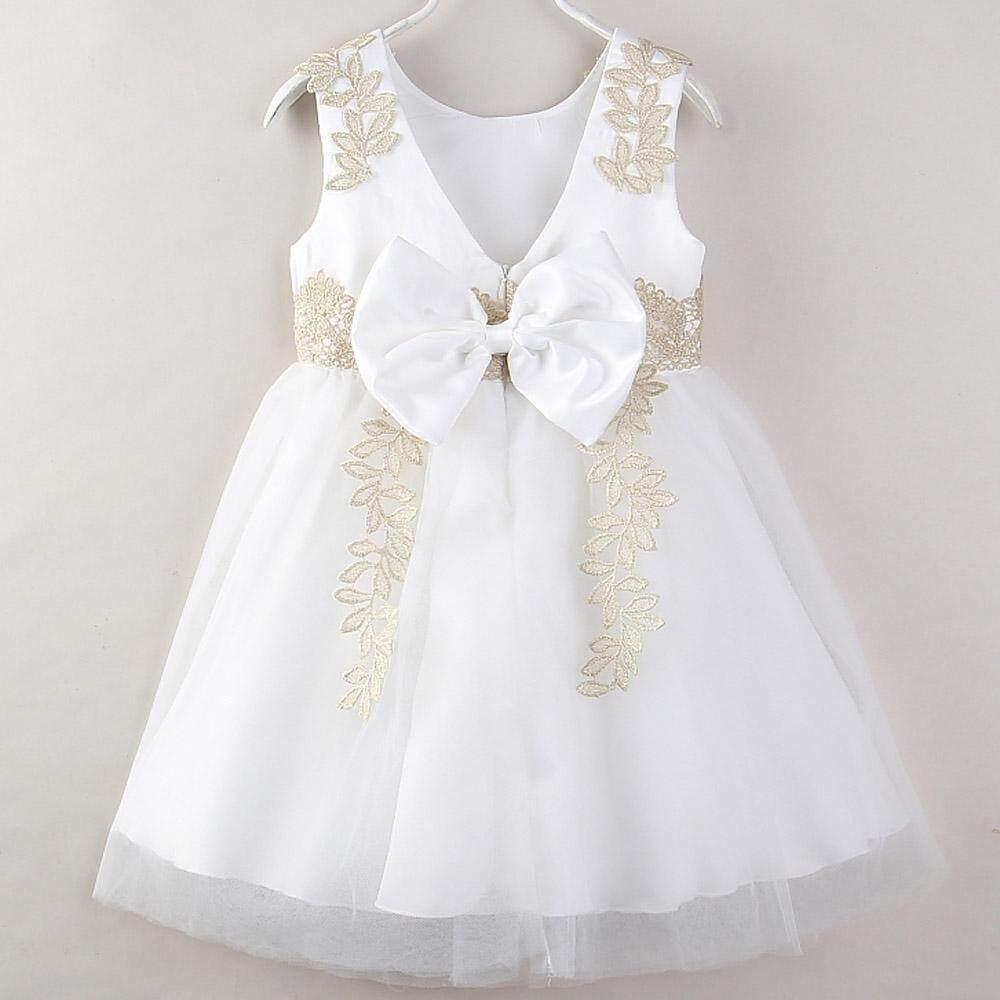 Bayi Gadis Tanpa Lengan Musim Panas Pakaian Chiffon Cute Ikatan Simpul Gaun Pesta Ulang Tahun Putri ...