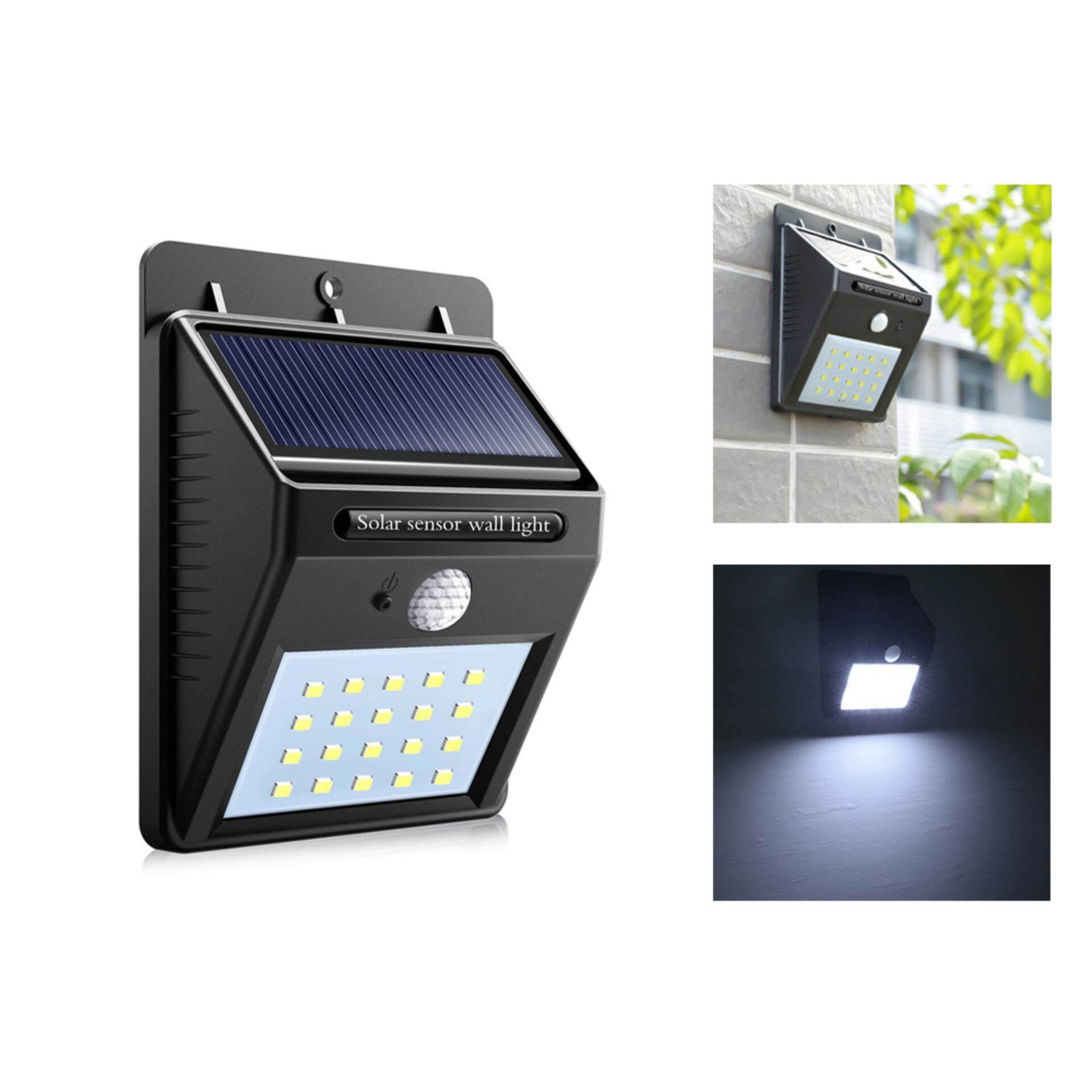 โคมไฟแบบติตตั้งผนัง พลังงานแสงอาทิตย์ Motion Sensor Solar Power Led Light Outdoor Garden Wall Lamp Waterproof.