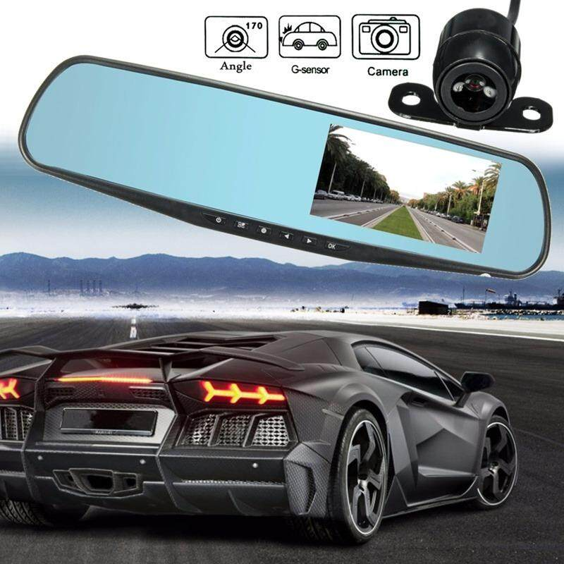 "Car Camera กล้องติดรถยนต์ 4.3"" Full HD 1080P รูปทรงกระจกมองหลัง พร้อมกล้องถอยหลัง S500-SL"