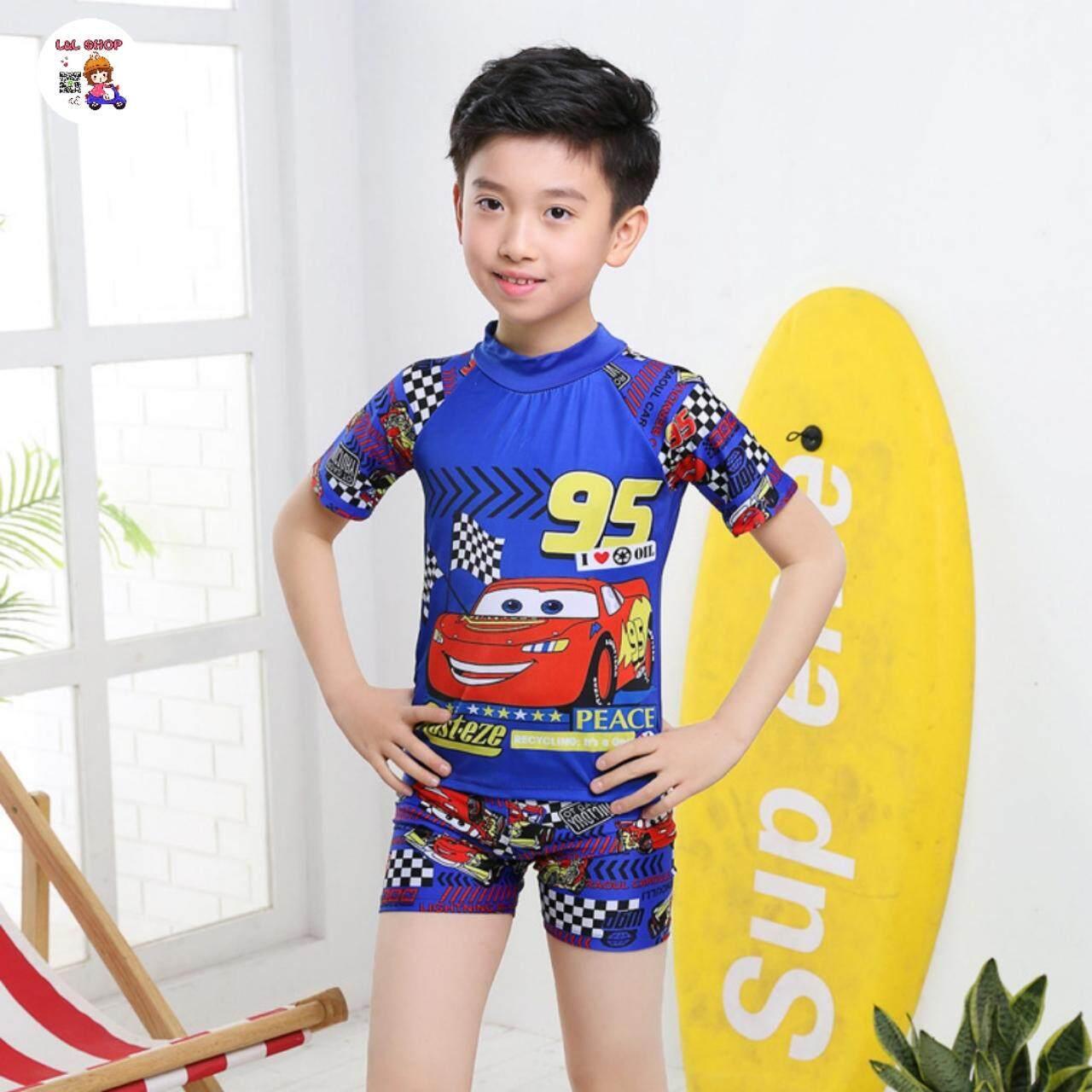 L&l Shop ชุดว่ายน้ำเด็กชาย เซต2 ชิ้น เสื้อแขนสั้น+กางเกงขาสั้น  .