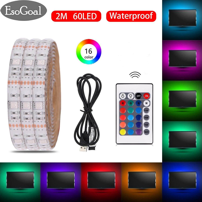 EsoGoal USB LED Strip Light RGB Waterproof Portable 5050 2M LED TV Backlight IP65 60Leds USB