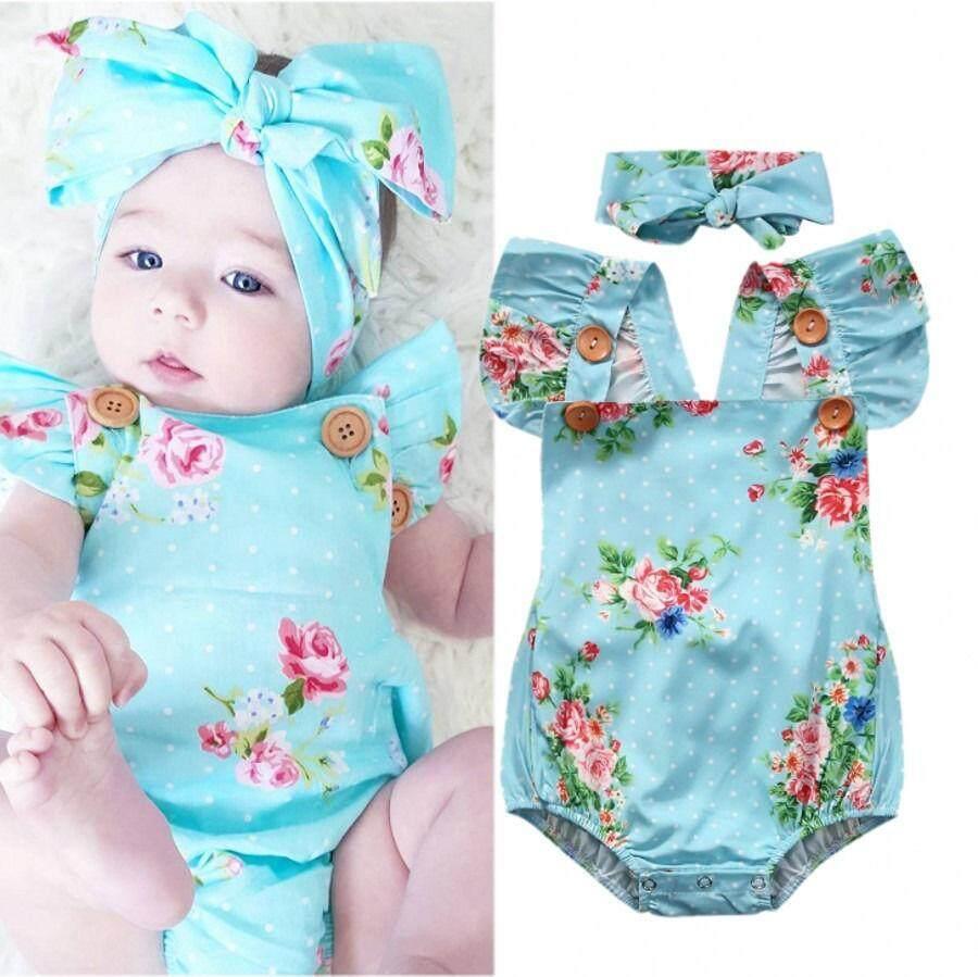 เด็กทารกที่น่ารักดอกไม้หนึ่งชิ้น Romper ชุดราตรีเสื้อผ้า Sunsuit ที่คาดผม 0-24month - นานาชาติ.