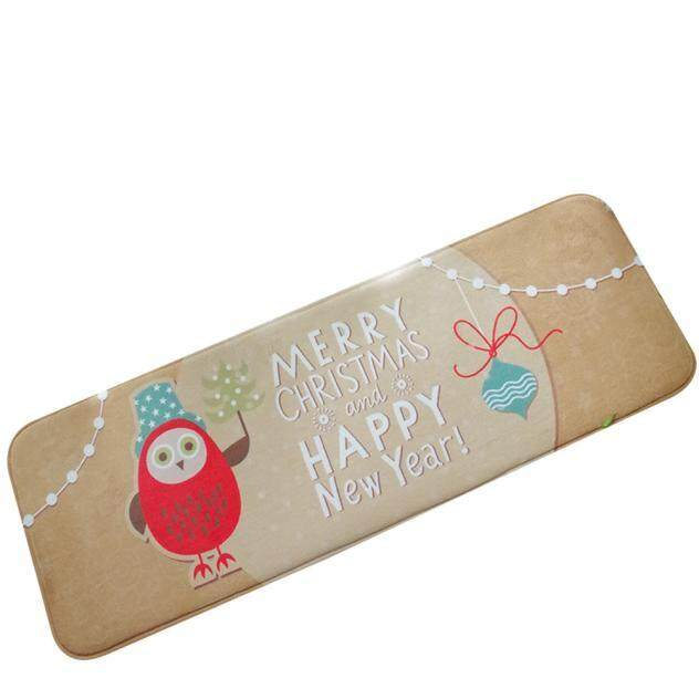 Christmas HD Printed Non-Slip Bath Mat Absorbent Home Decor A - intl