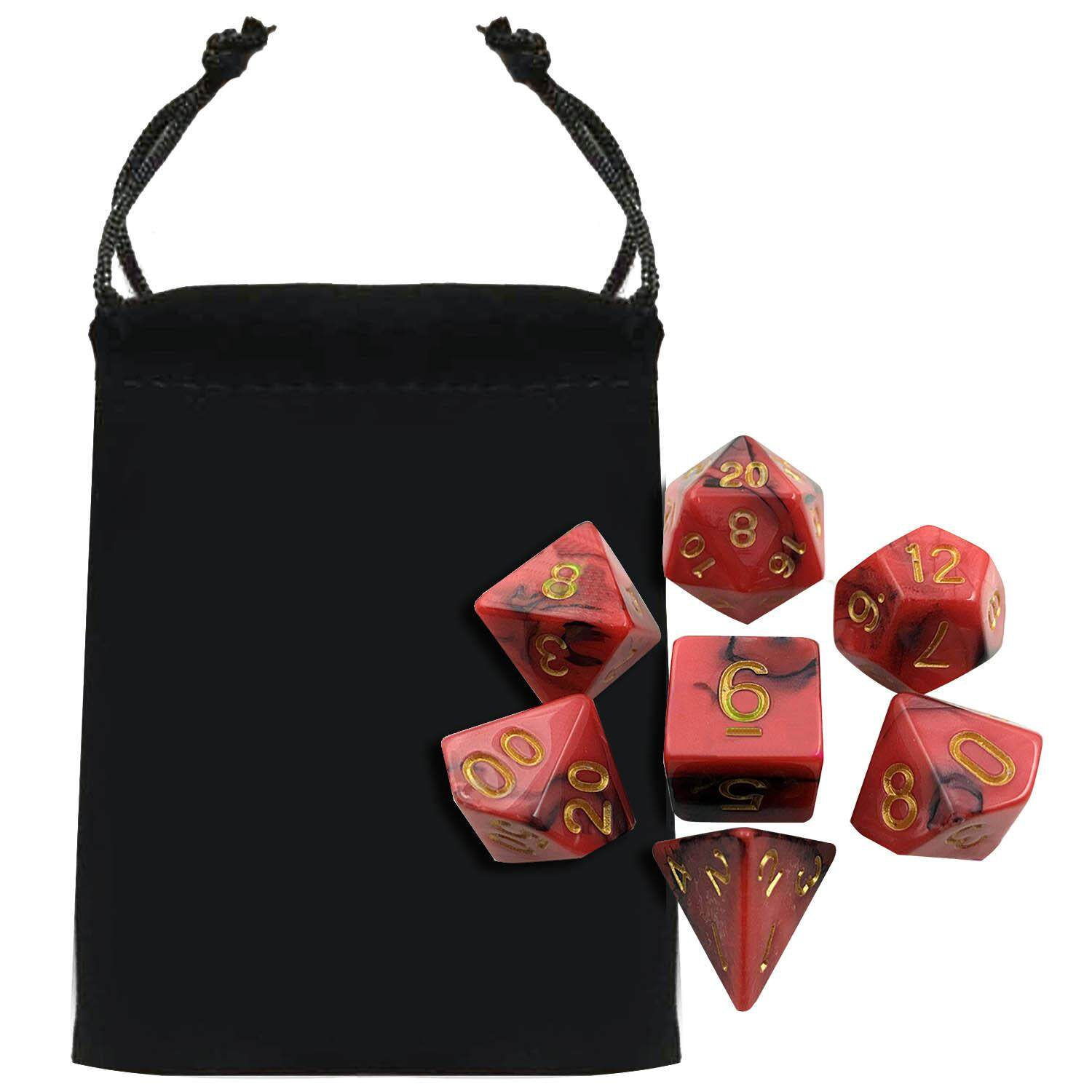 7 Pcs Acrylic Polyhedral Number Game Dice Set 7 Style D4 D6 D8 2d10 D12 D20 With Storage Pouch For Dungeons And Dragons Party Math Game Playing Red Mixed Black By Duha.