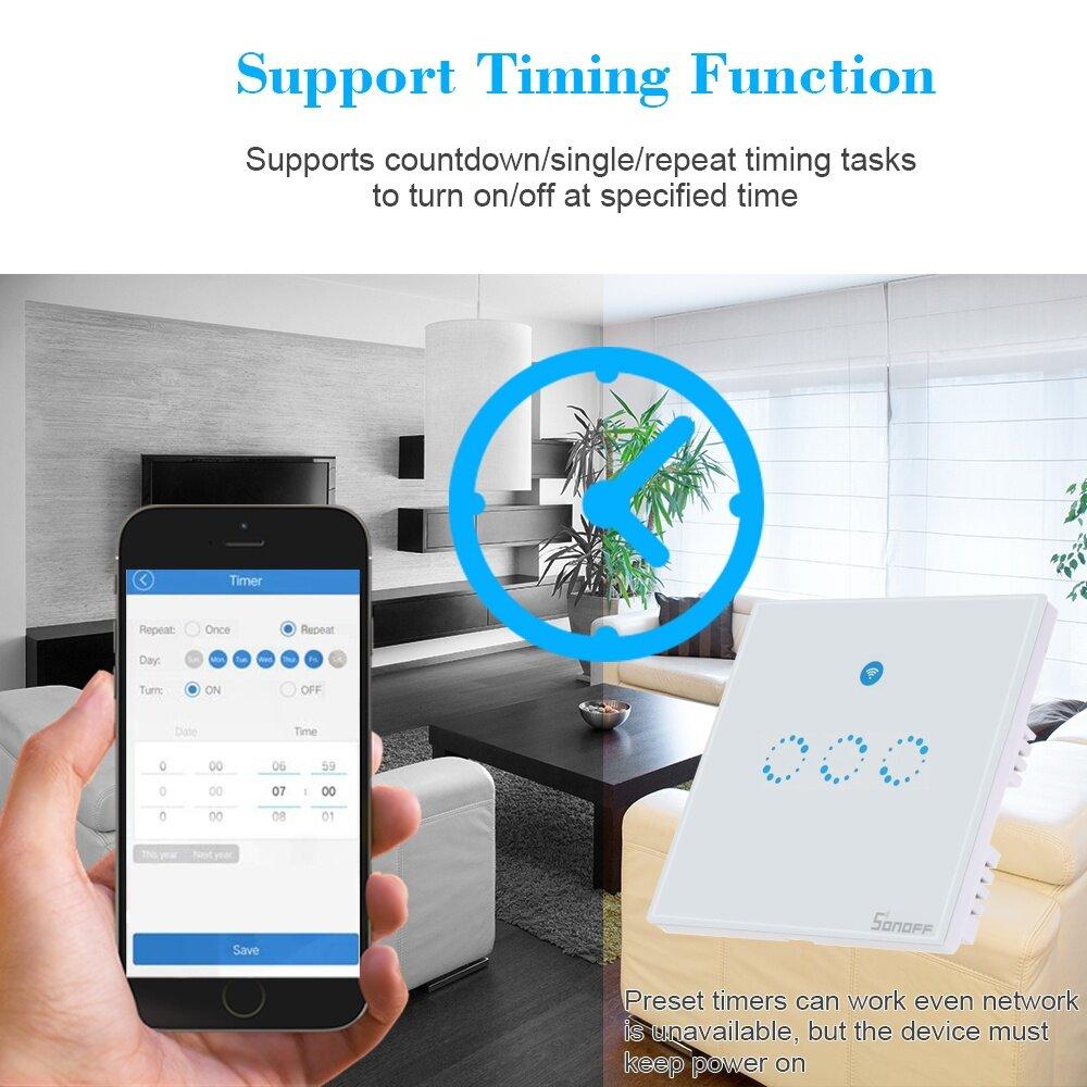 โปรเลิศ ลดถูกสุด ๆ SONOFF T1 3 Gang Smart WiFi Wall Light