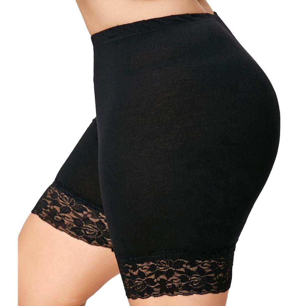 Calvinstore Womens Plus Size Mid Waist Lace Hot Shorts Elastic Sports Pants Trousers Trunks By Calvinstore.