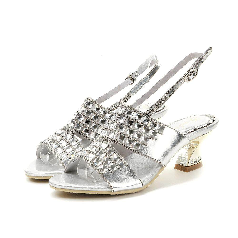 Summer Fashion High Sandals For Women Microfiber Rhinestone Ladies Cone Sandals Heel Plus Size Silver 33-44size By Deinny Store.
