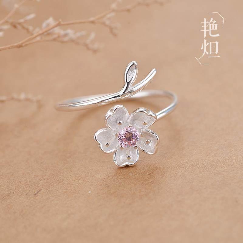 Kreatif 925 perak murni Cincin perempuan Jepang Korea kepribadian Sastra Sederhana dan Elegan Sakura Bagian Buka Tutup Dapat Disesuaikan cincin kelingking jari telunjuk cincin