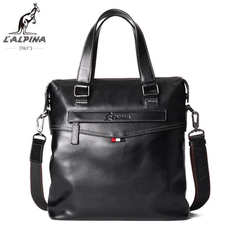 Alpina Kangaroo Europe And The United States Men's Handbag Fashion Multi-purpose Document Shoulder Diagonal Package  (Black)