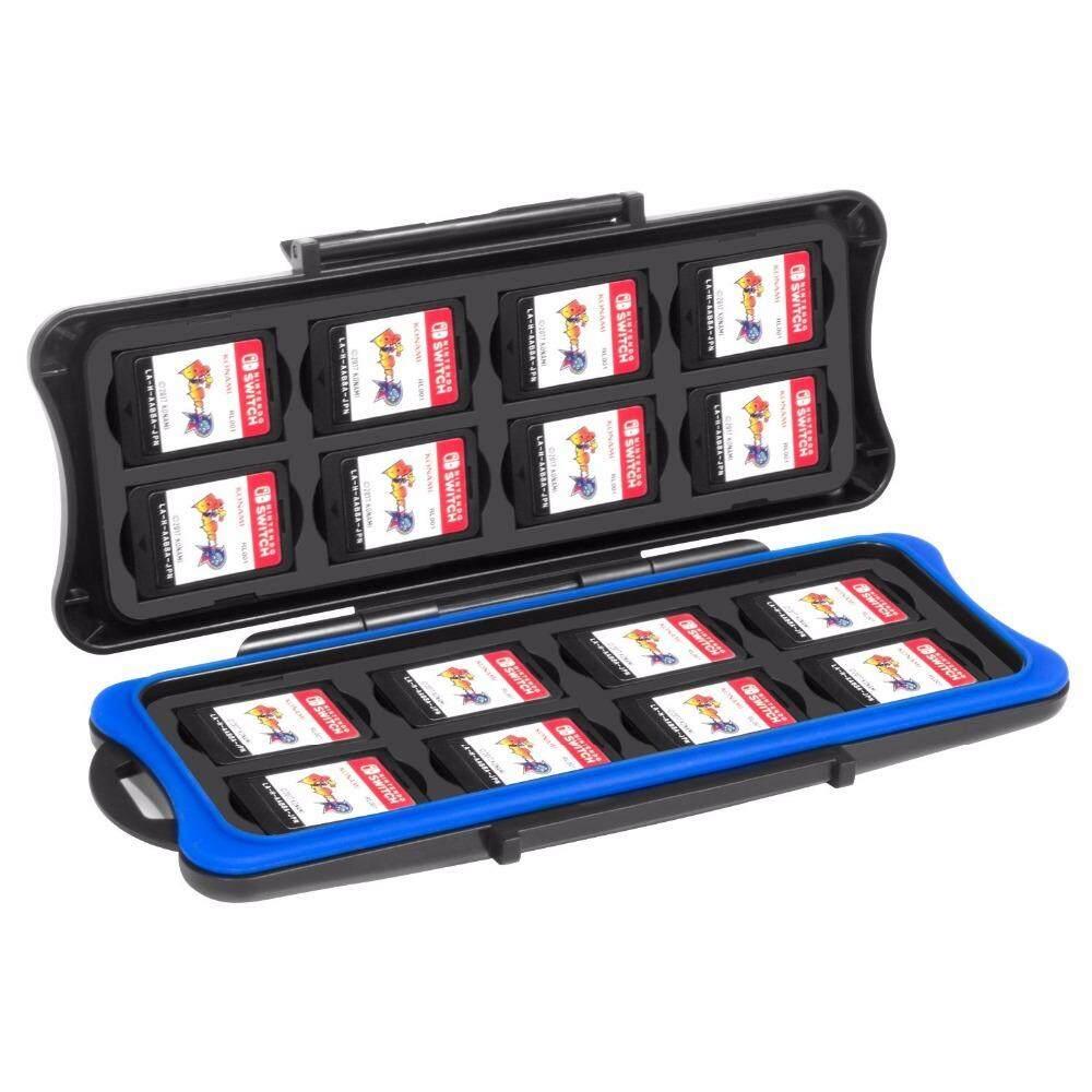 Jinxin JX Tahan Air Kartrid Kartu Bermain Kotak Penyimpanan dengan 16 Kartu Bermain Slot dan 16 Micro SD Tempat Kartu untuk Tombol Nintend NS