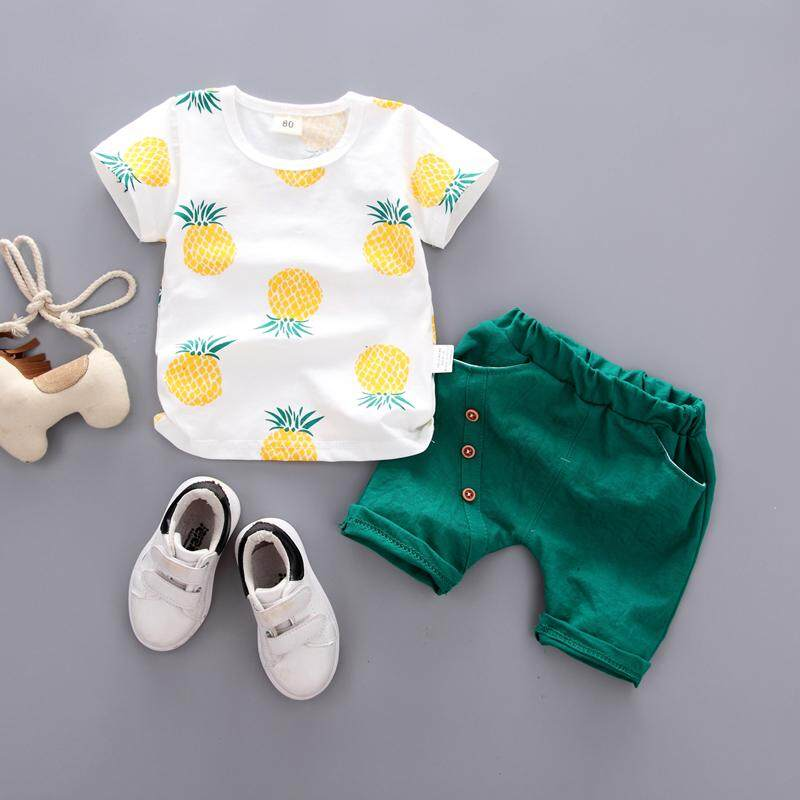 23054db5e6a2 Korean Style Boy's Summer Wear Baby Set Short Sleeve Shorts Fashion  Handsome Small Children's Short Sleeve
