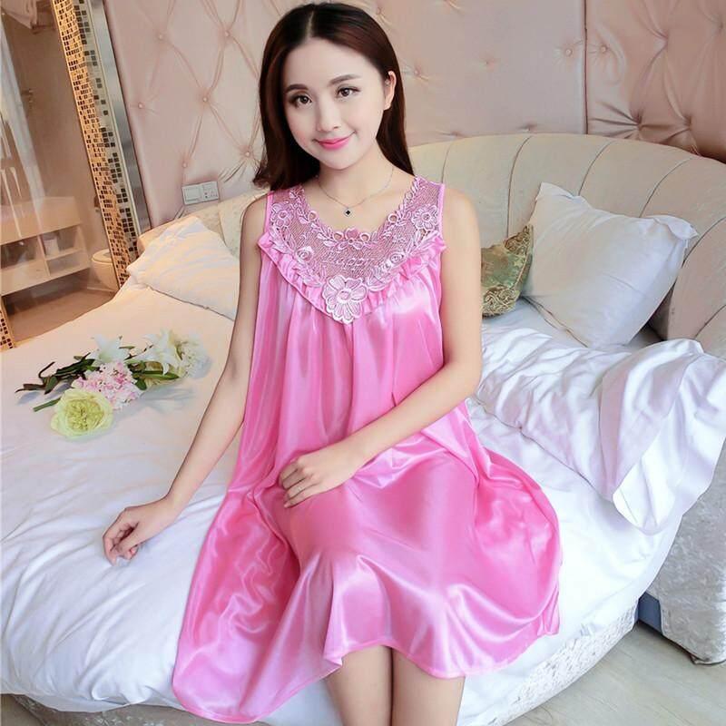 MM Sutra Es XL Tanpa Lengan Vest Baju Tidur Gaun Tidur (Merah Muda Gelap (