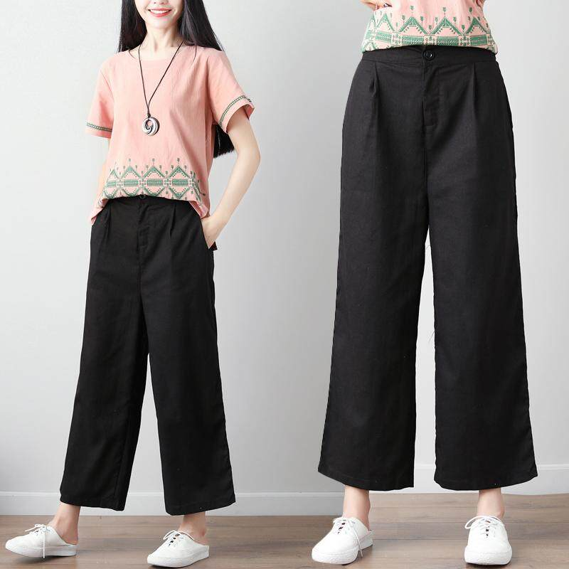 7075ea4561fc 2018 Summer Wear Cotton Linen Capri Pants Loose And Plus-sized Slimming Loose  Pants Ol