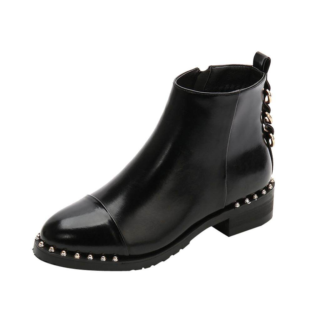Teresastore Women Rivet Flat Shoes Martain Boots Leather Ankle Boots Round Toe Zipper Shoes By Teresastore.