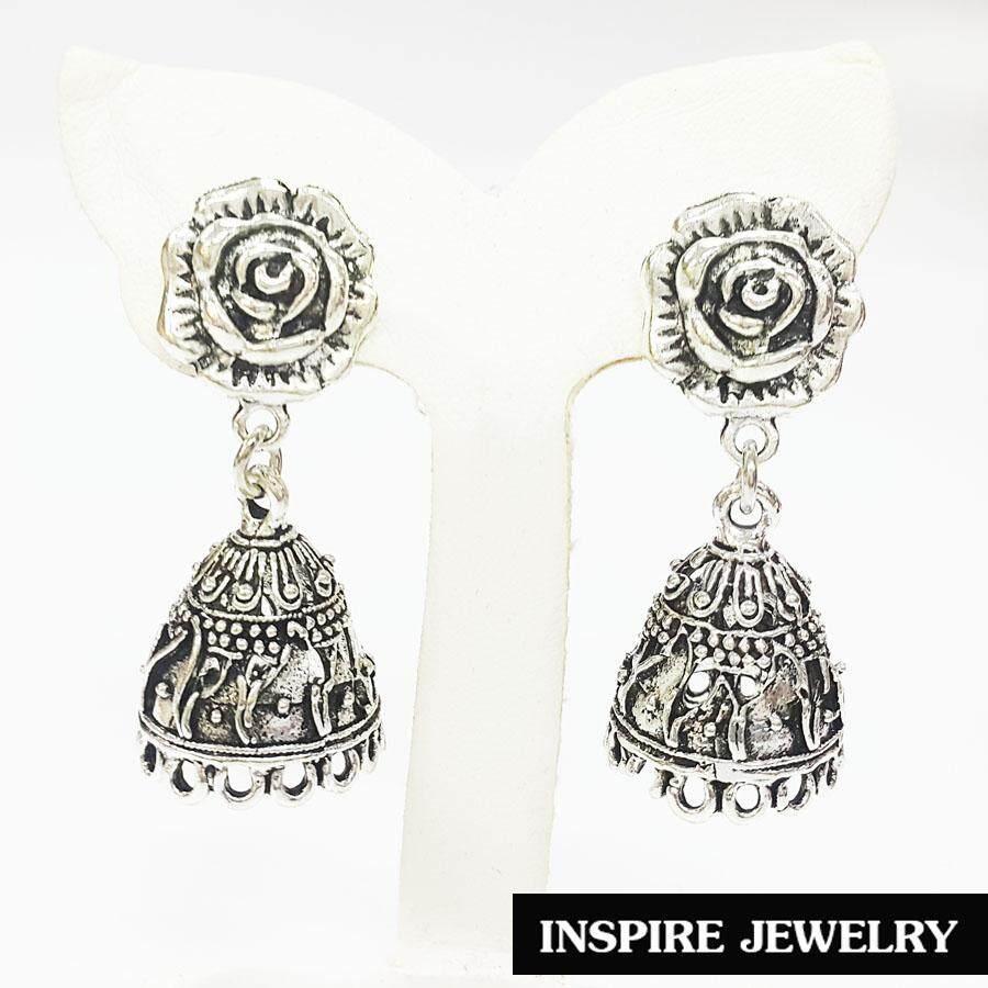 Inspire Jewelry ,ต่างหูเทียมเงิน แบบโบราณ ขนาด3.5x9cm. สีเงิน สวยงาม สำหรับการแต่งกายชุดไทย ชุดพื้นเมือง ใส่กับผ้าไทย การะเกตุ ตามรอยละคร แต่งไทย บุพเพสันนิวาส เครื่องเงิน.