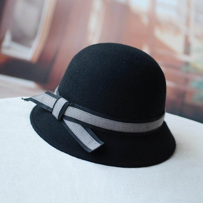 Musim gugur musim dingin Wol topi wanita Korea Selatan Imut Topi buket topi  nelayan Atas Bulat 0cbdffde9f