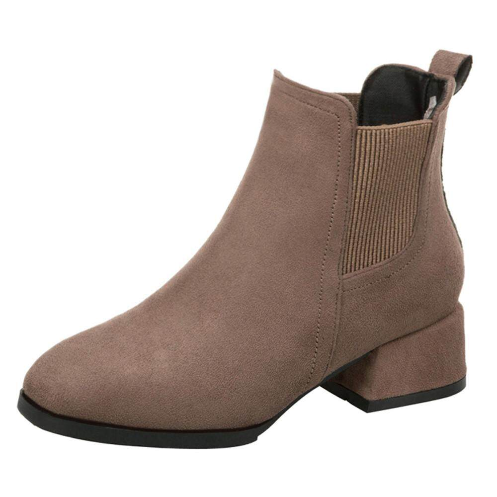 Teresastore Women Round Toe Shoes Thick Heel Booties Slip-On Suede Solid Color Martin Boots By Teresastore
