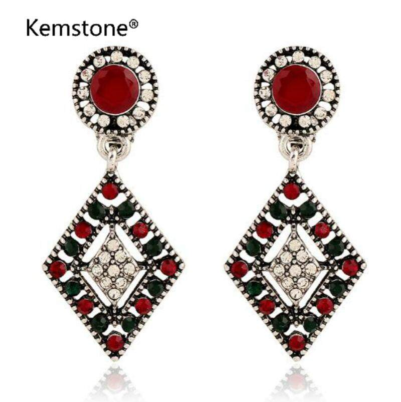 Kemstone Gold/Silver Plated Coloful Rhinestone Hollow Block Clip on Earrings Bohemia Style Jewelry for
