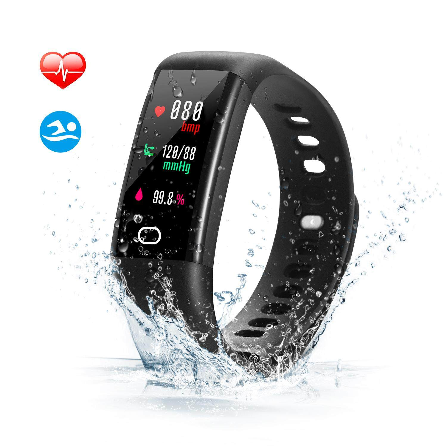 Fitness Tracker, Savfy Color Screen Display Waterproof Sports Smart Watch Wristband With Heart Rate Monitor, Activity Tracker Pedometer For Ios & Android.
