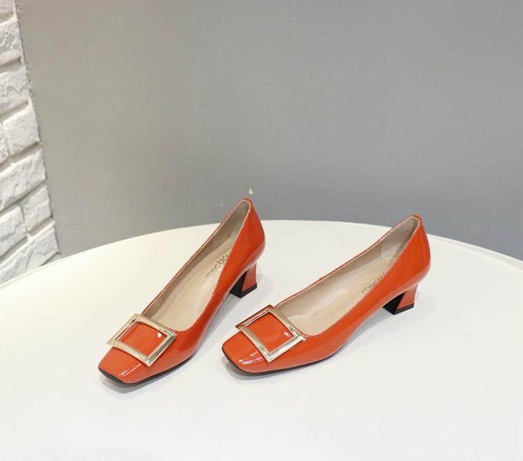Kulit Paten Abu-abu Sepatu Wanita dengan (Oranye)