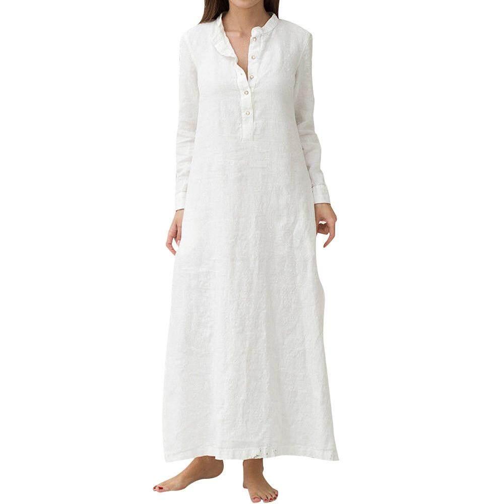 Lawsonshop Women's Kaftan Cotton Long Sleeve Plain Casaul Oversized Maxi Long Shirt Dress