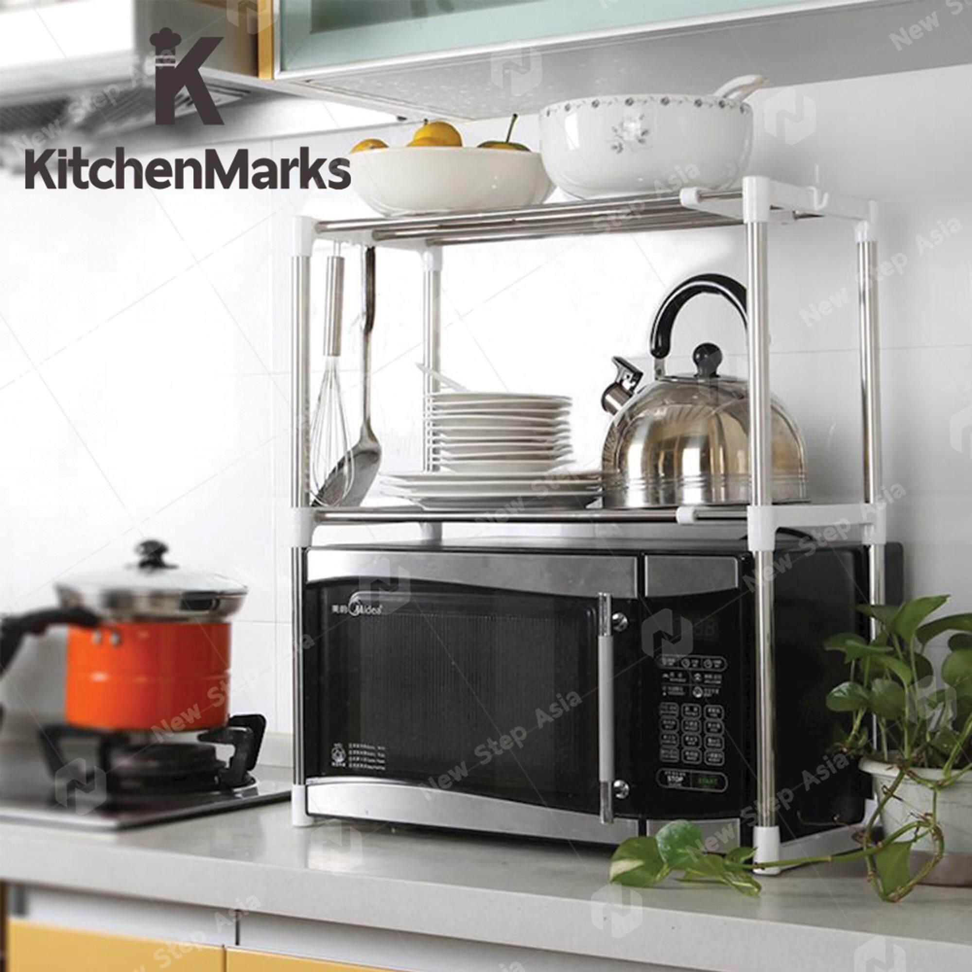 KitchenMarks ชั้นวางคร่อมไมโครเวฟ ชั้นวางของสแตนเลส ชั้นสแตนเลส ปรับความยาวได้ สำหรับวางของคร่อมไมโครเวฟ Microwave Rack Kitchen Shelves new step asia